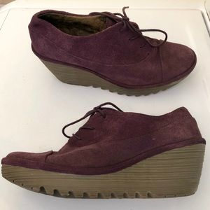 FLY LONDON YIF  PLUM SUEDE WEDGE BOOTIES 10/10.5